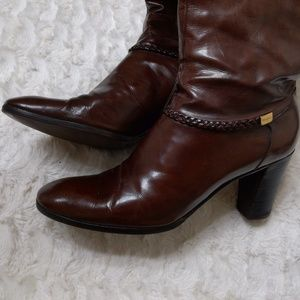 Salvatore Ferragamo Brown Leather Knee High Boots
